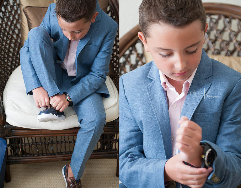 son getting ready for wedding